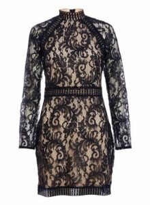 Womens *Quiz Navy And Nude Lace Mini Bodycon Dress- Blue, Blue