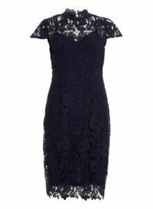 Womens *Quiz Navy Crochet Midi Dress, Navy