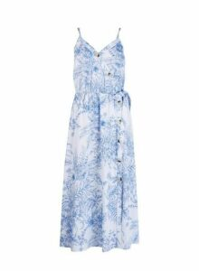 Womens Blue Floral Print Wrap Dress With Linen- White, White