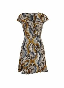 Womens **Billie & Blossom Black Snake Print Wrap Dress- Black, Black