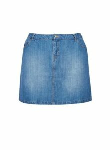 Womens **Dp Curve Midwash Denim Skirt- Blue, Blue