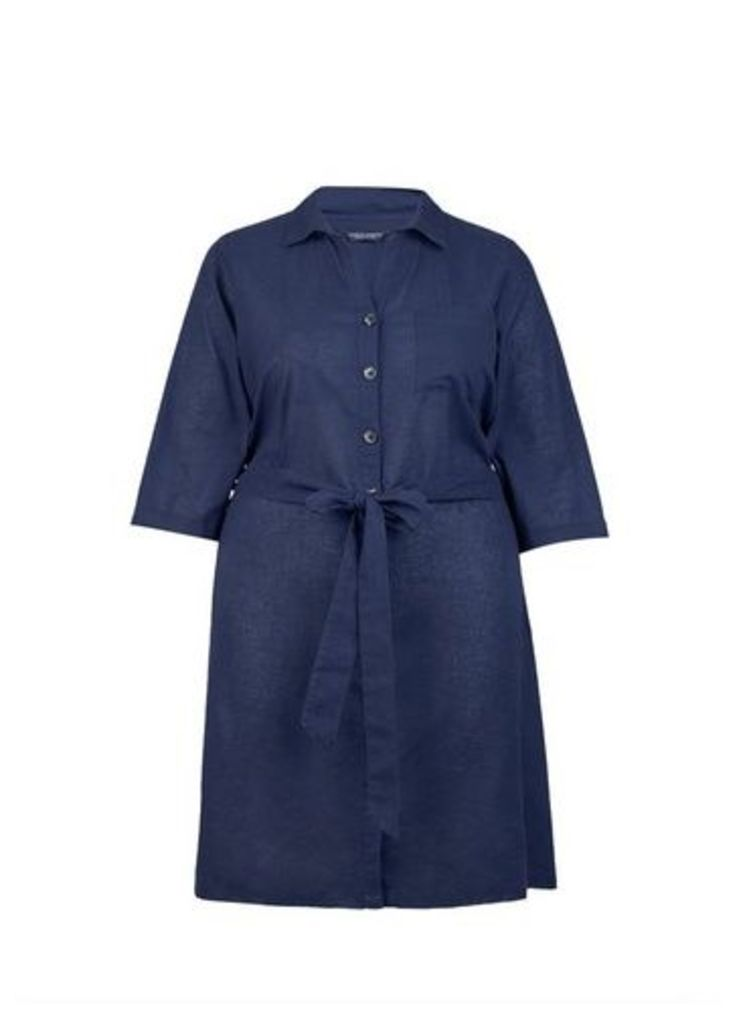 Womens **Dp Curve Navy Shirt Dress With Linen- Blue, Blue