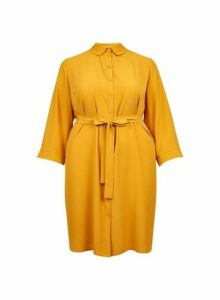 Womens **Dp Curve Yellow 3/4 Sleeve Shirt Dress- Orange, Orange