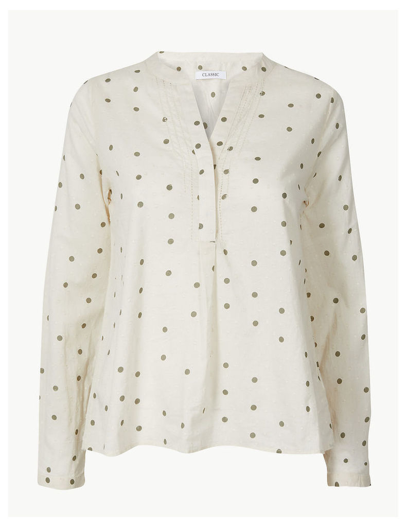 M&S Collection Pure Cotton Polka Dot Long Sleeve Blouse