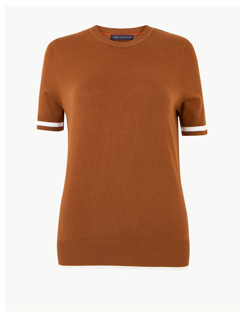 M&S Collection Tipped Short Sleeve Knitted Top