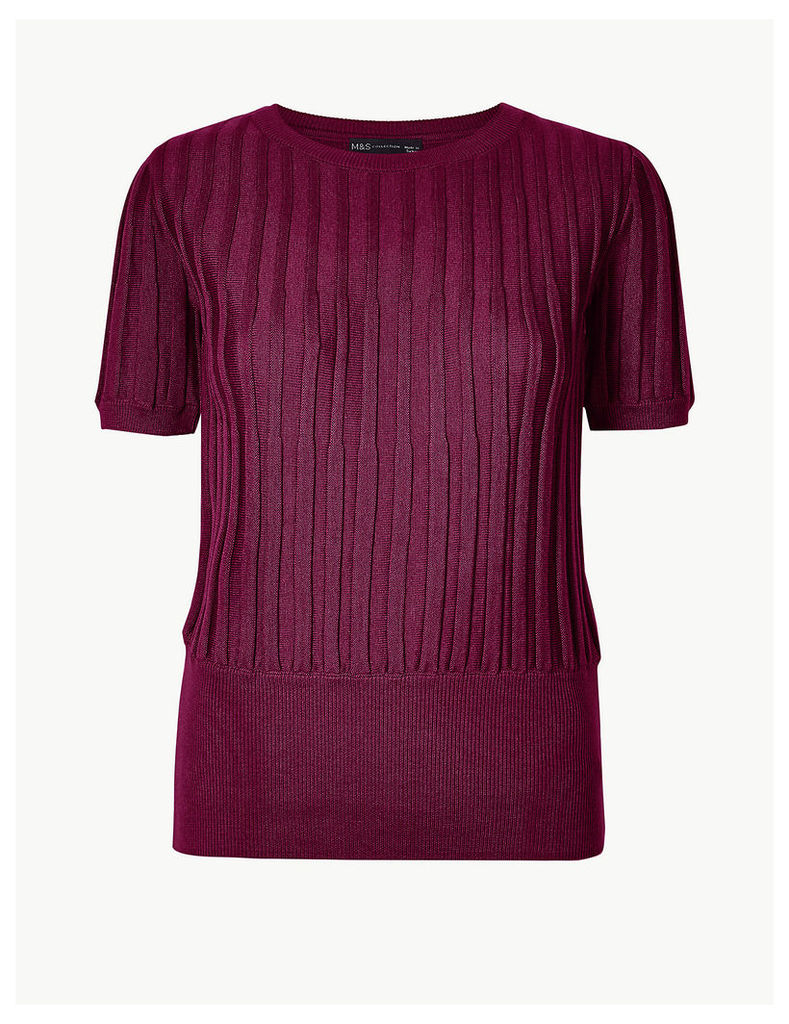 M&S Collection Textured Round Neck Knitted Top