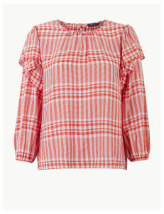 M&S Collection Checked Ruffle Sleeve Blouse