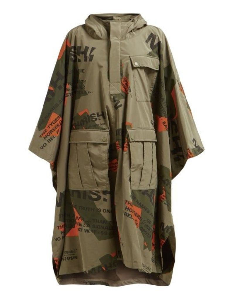 Maharishi - Logo Print Hooded Coat - Womens - Khaki