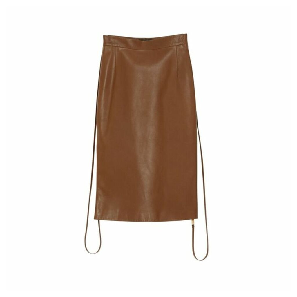 Burberry Double Zip Lambskin Skirt