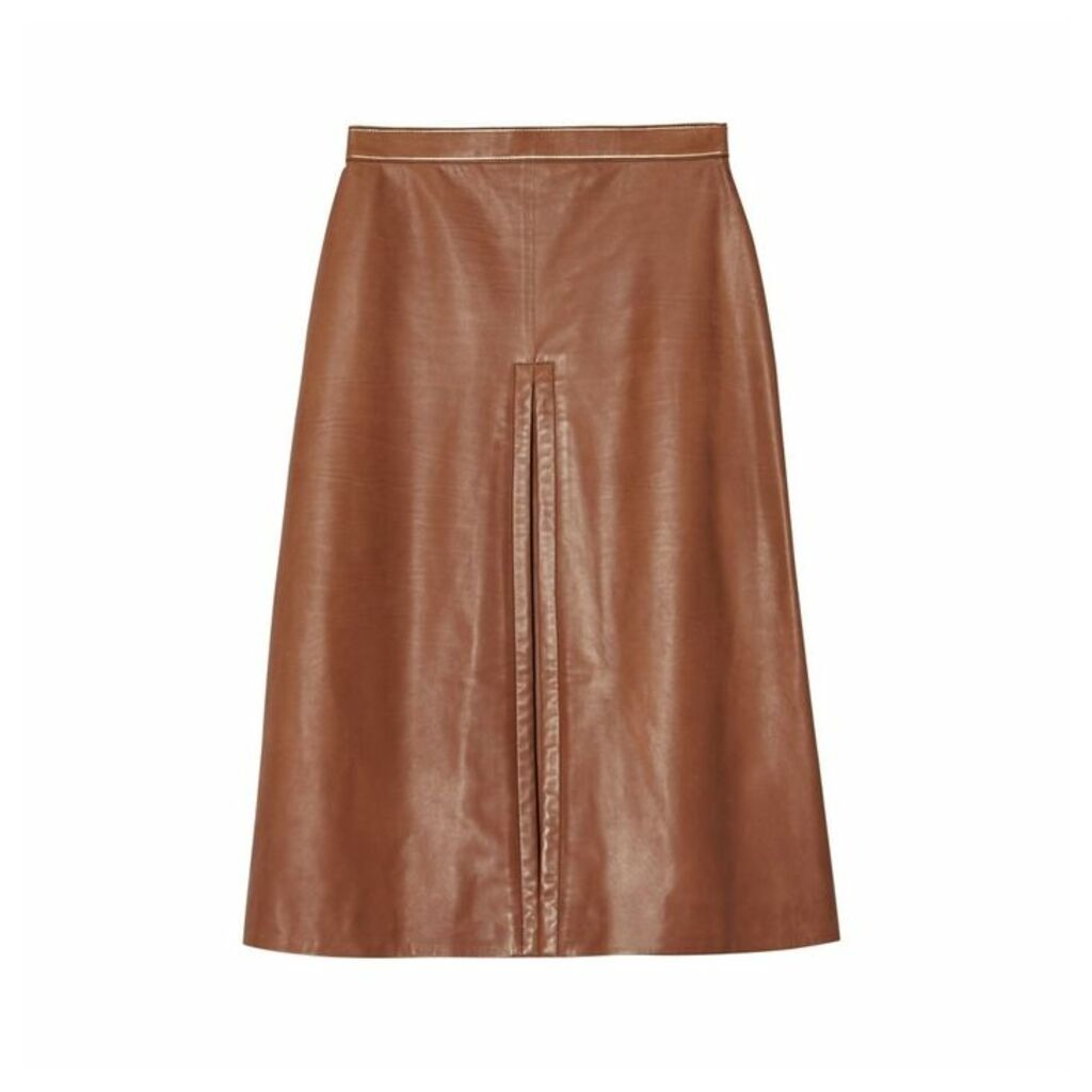 Burberry Box Pleat Detail Leather A-line Skirt