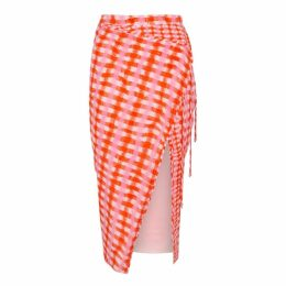 Altuzarra Cicero Orange Checked Silk Skirt