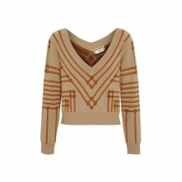 Burberry Rope Silk Wool Jacquard V-neck Sweater