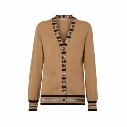 Burberry Icon Stripe Detail Merino Wool Cardigan