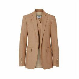 Burberry Vest Detail Cotton Linen Tailored Jacket