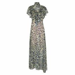 Preen By Thornton Bregazzi Emily Navy Sheer Georgette Dress