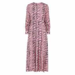 RIXO Emma Tiger-print Silk Midi Dress