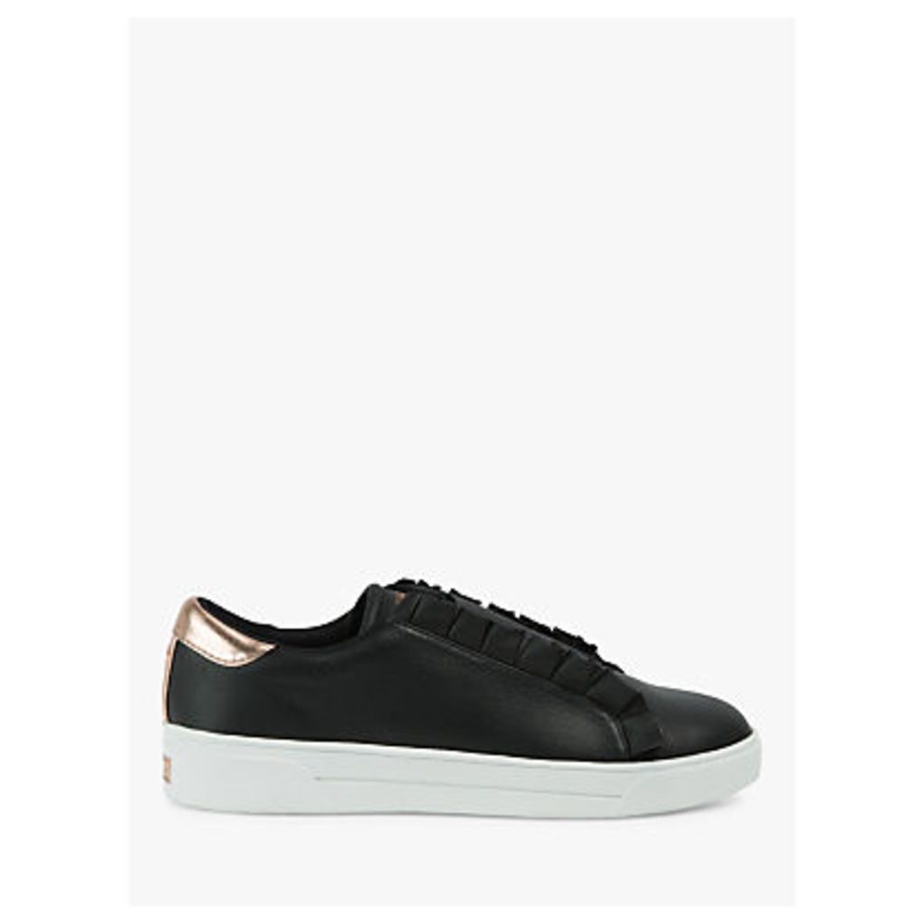 Ted Baker Astelli Ruffle Detail Trainers, Black Leather