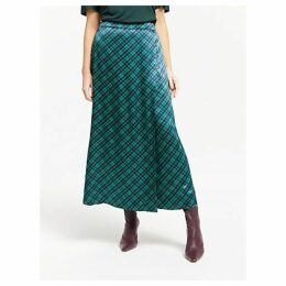 Finery Rose Check Satin Wrap Skirt, Green/Purple