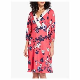 Adrianna Papell Etched Blooms Floral Print Dress, Red/Ivory/Multi