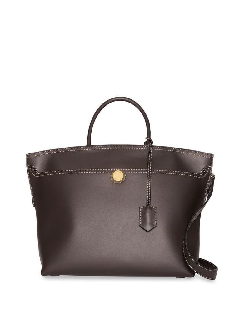 Burberry Leather Society Top Handle Bag - Brown
