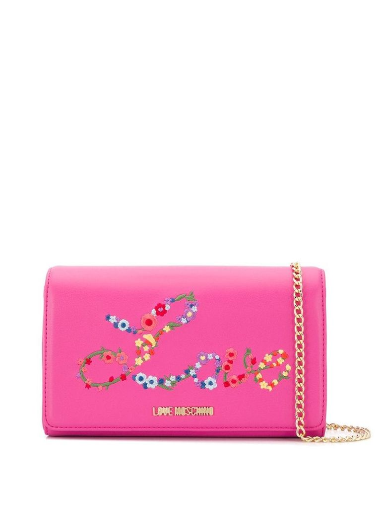 Love Moschino embroidered clutch bag - Pink
