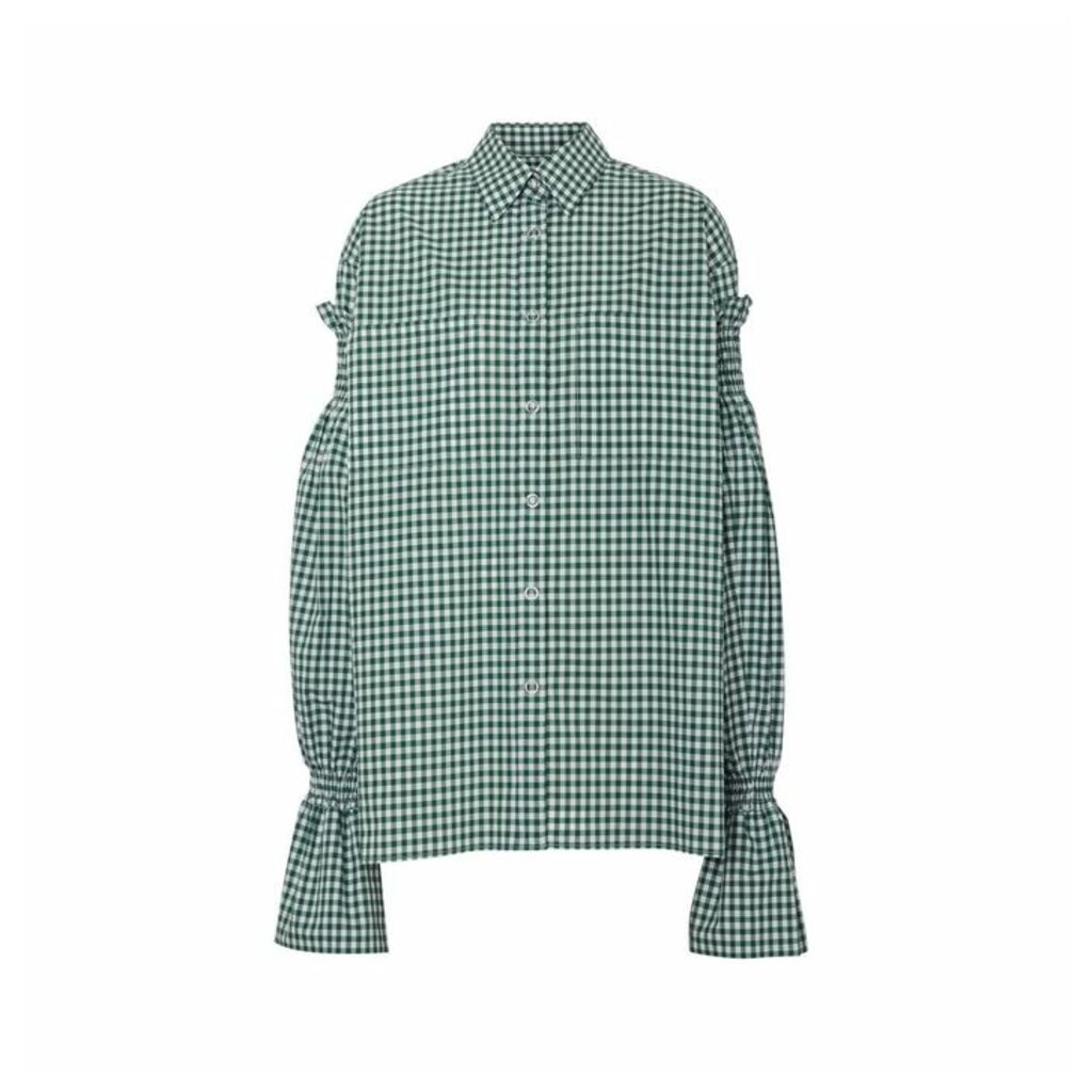 Burberry Puff-sleeve Gingham Cotton Shirt