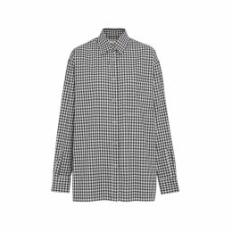 Burberry Puff-sleeve Gingham Cotton Oversized Shirt