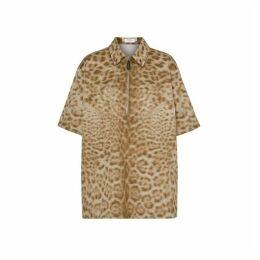 Burberry Short-sleeve Animal Print Cotton Oversized Shirt