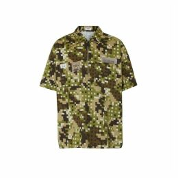 Burberry Short-sleeve Montage Print Cotton Shirt