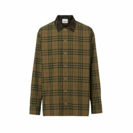 Burberry Contrast Collar Vintage Check Cotton Shirt