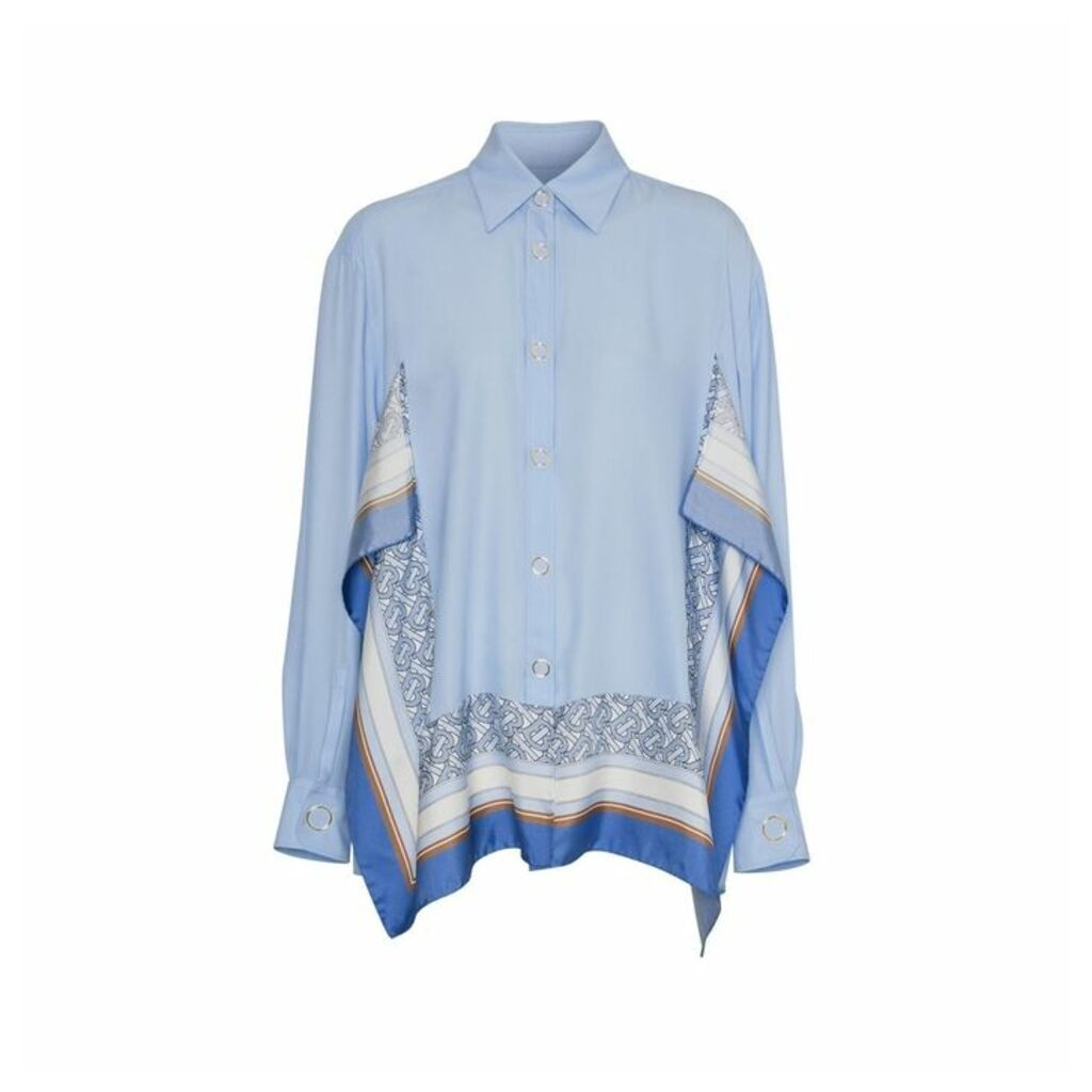 Burberry Monogram Print Trim Silk Shirt