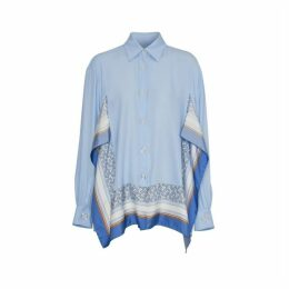Burberry Monogram Print Trim Silk Oversized Shirt