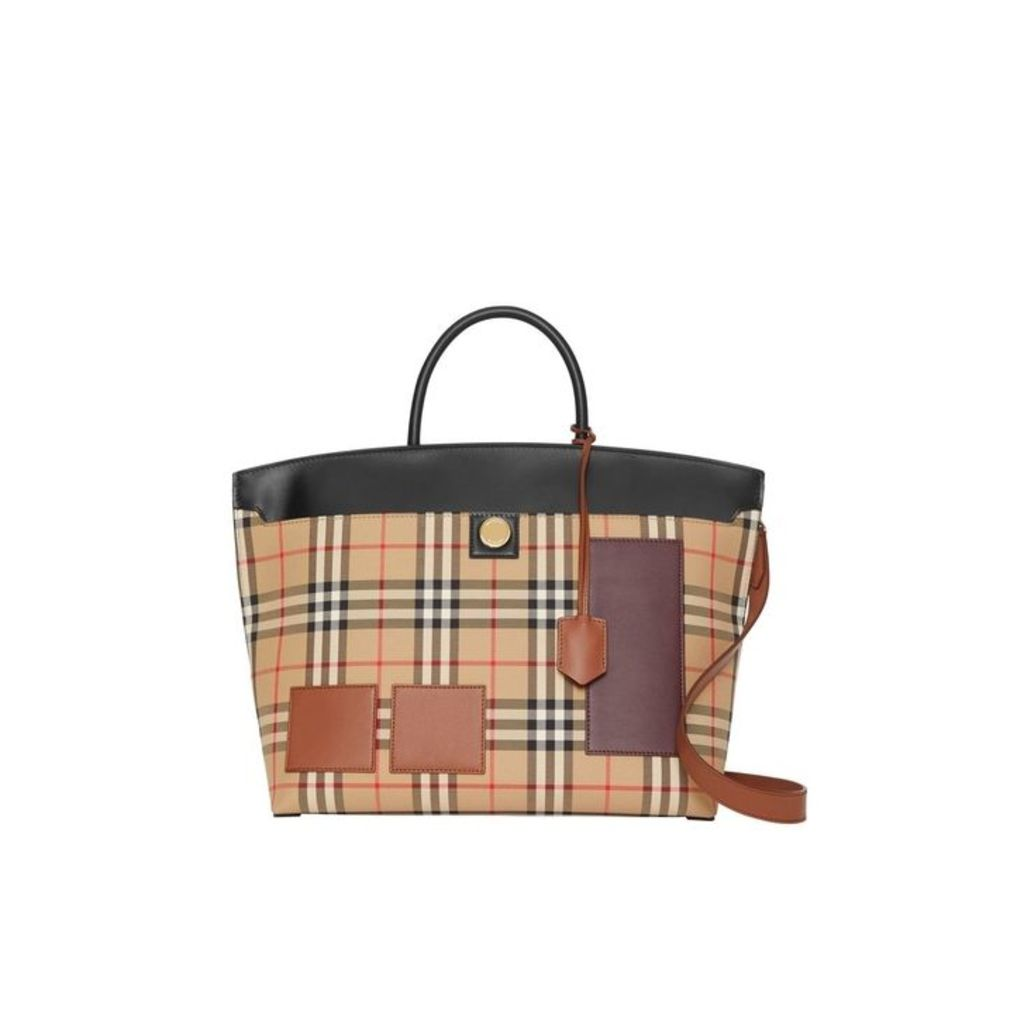 Burberry Vintage Check And Leather Society Top Handle Bag