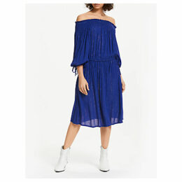 AND/OR Monique Off Shoulder Glitter Stripe Midi Dress, Cobalt