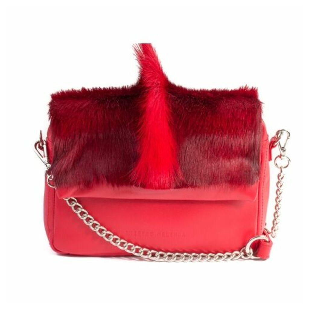 SHERENE MELINDA Red Shoulder Bag With A Fan