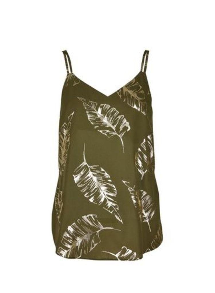 Womens Khaki Foil Print Camisole Top- Khaki, Khaki