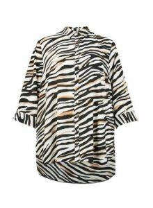 Womens **Dp Curve Multi Coloured Zebra Print Long Sleeve Shirt- Multi Colour, Multi Colour