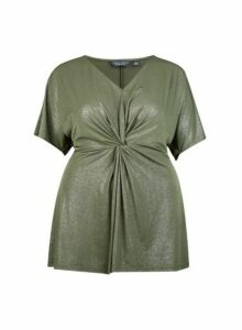 Womens **Dp Curve Khaki Knot Top- Green, Green