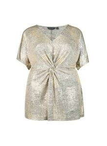Womens **Dp Curve Gold Knot Top- Gold, Gold