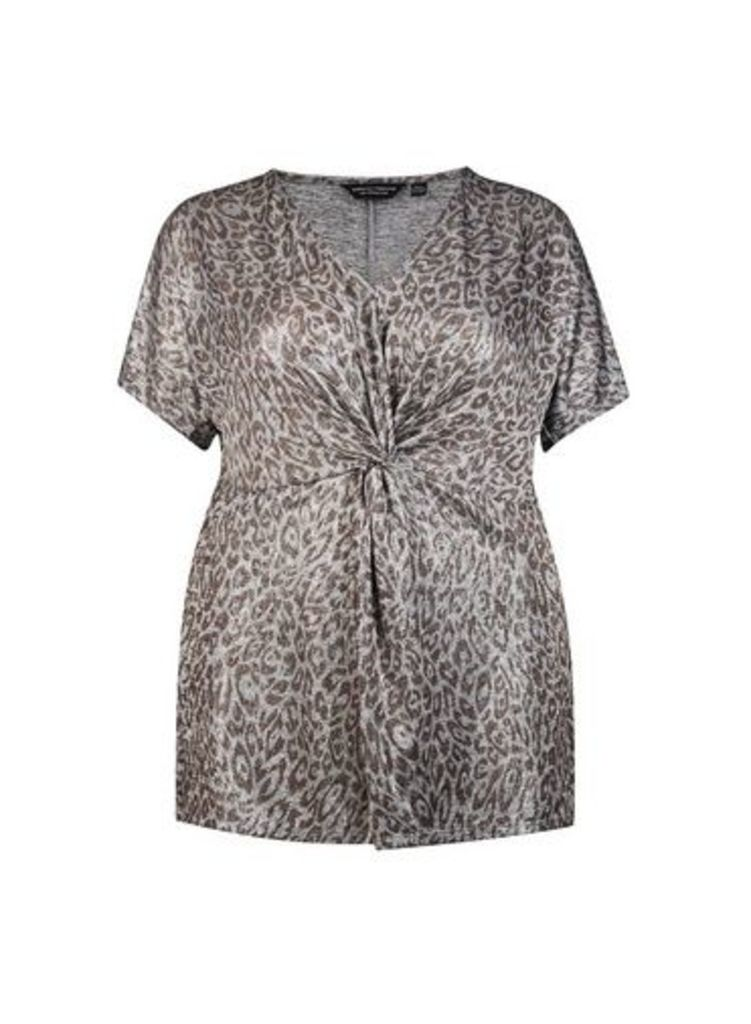 Womens **Dp Curve Silver Animal Print Knot Top- Silver, Silver