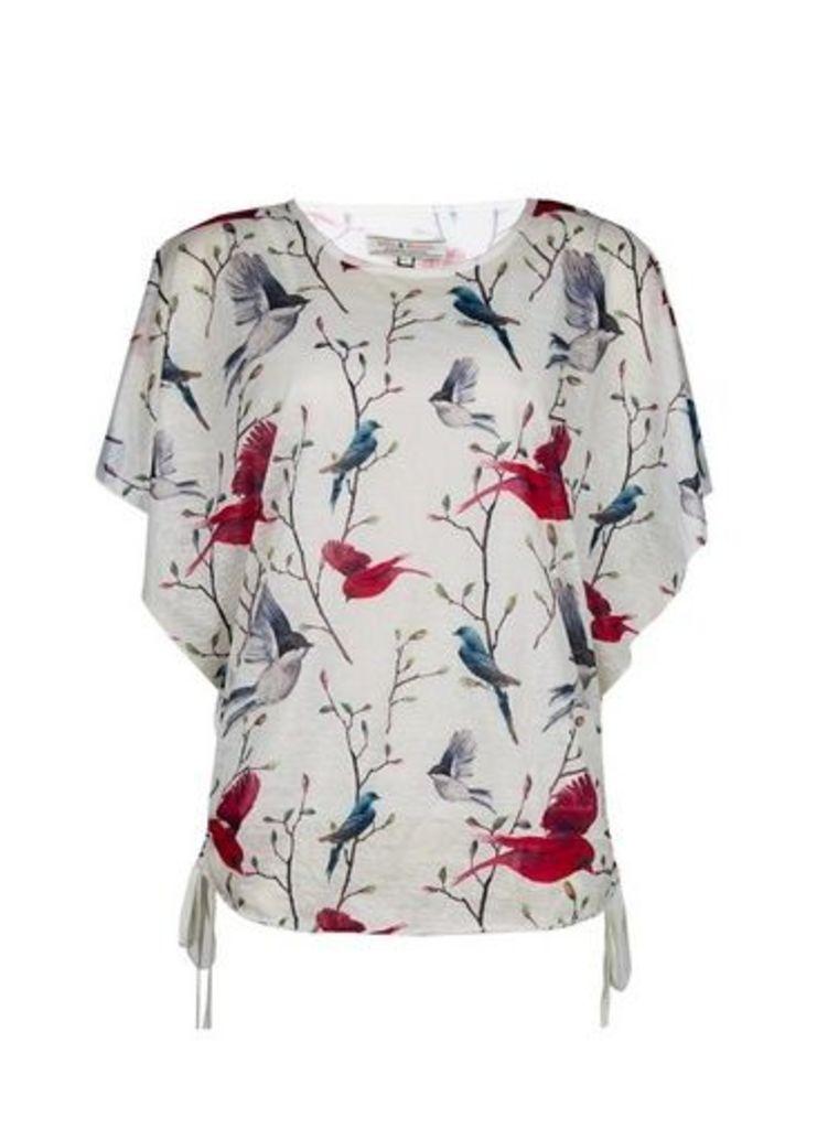 Womens **Billie & Blossom White Bird Print Textured T-Shirt- White, White