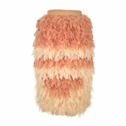 JULIANA HERC - White & Nude Feather Skirt
