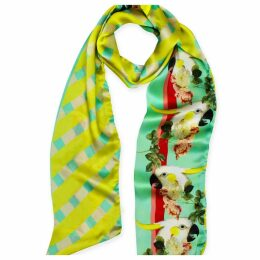 Texas and the Artichoke - Parrots & Roses Skinny Silk Scarf