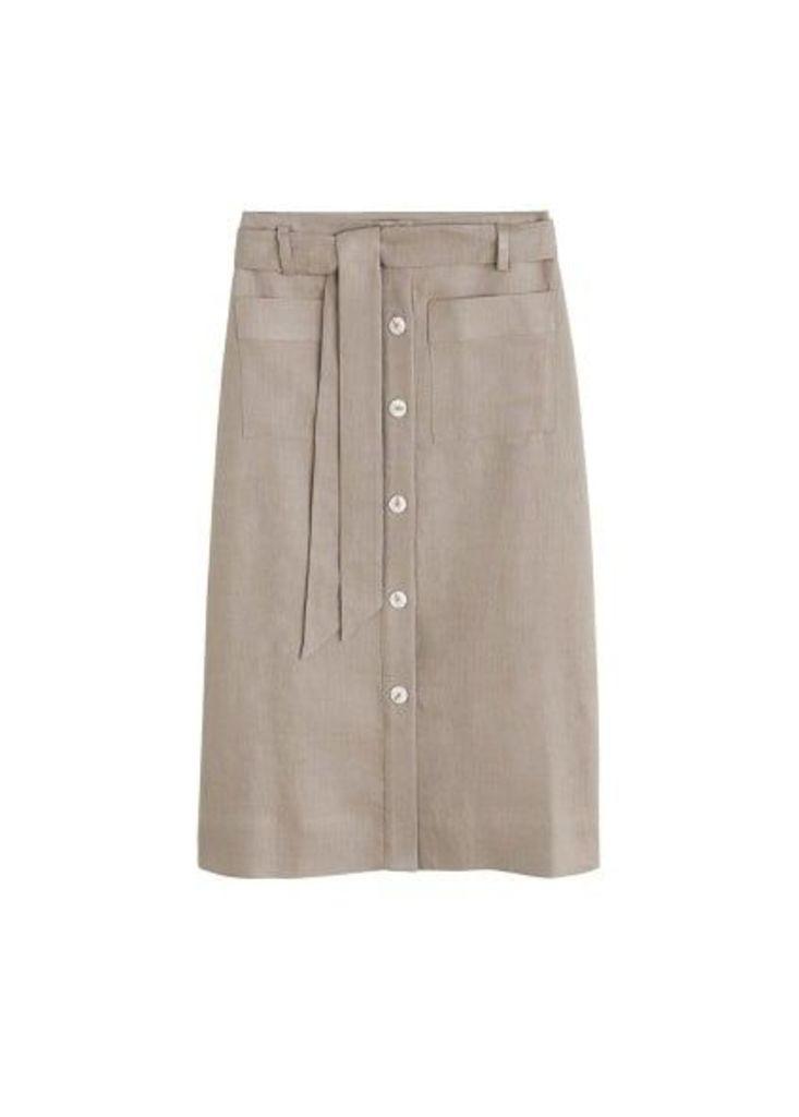 Linen pocketed skirt