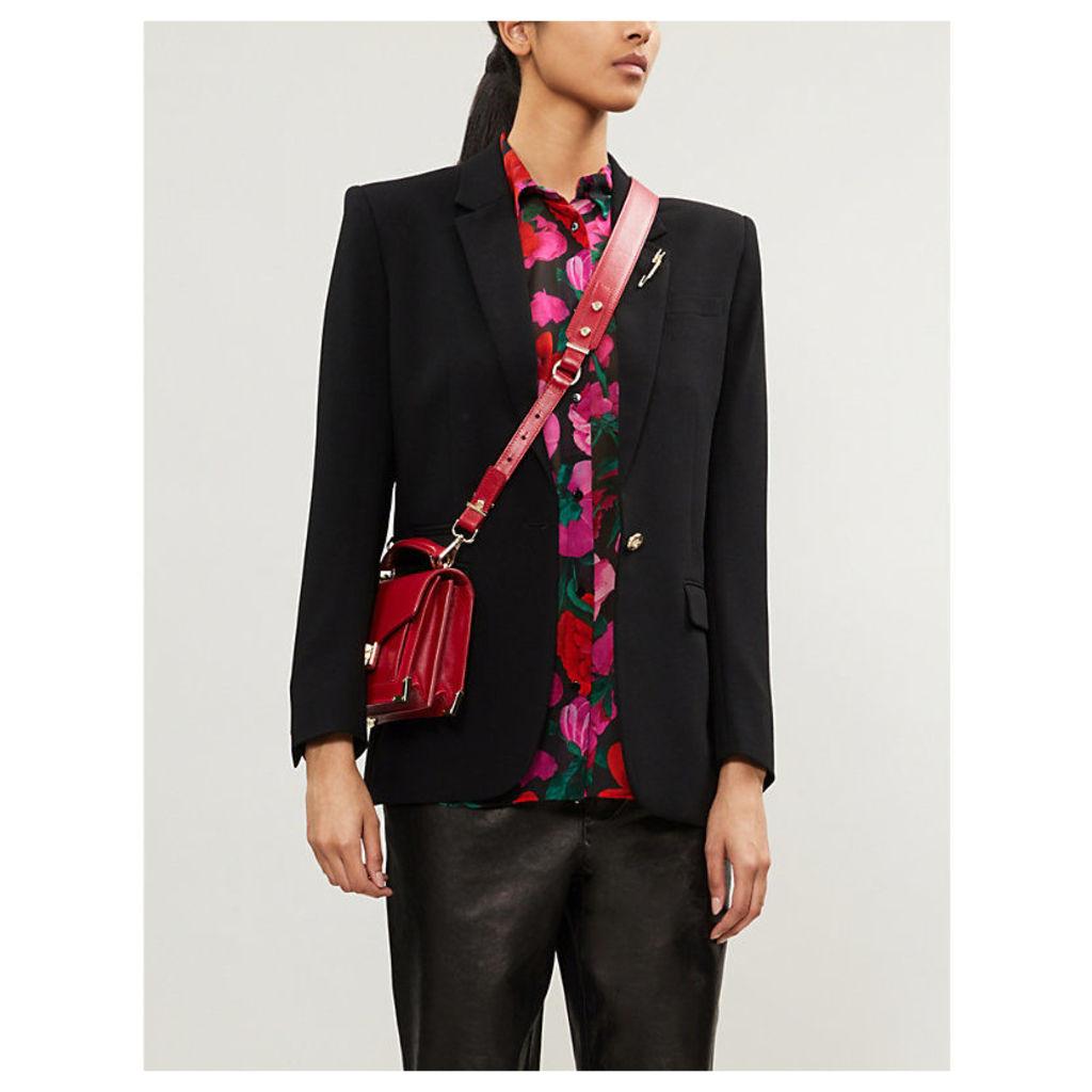 Shoulder-padded floral silk-chiffon shirt