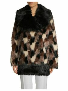 Double-Breasted Faux Fur Coat