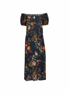 Womens Navy Floral Print Midi Dress- Blue, Blue