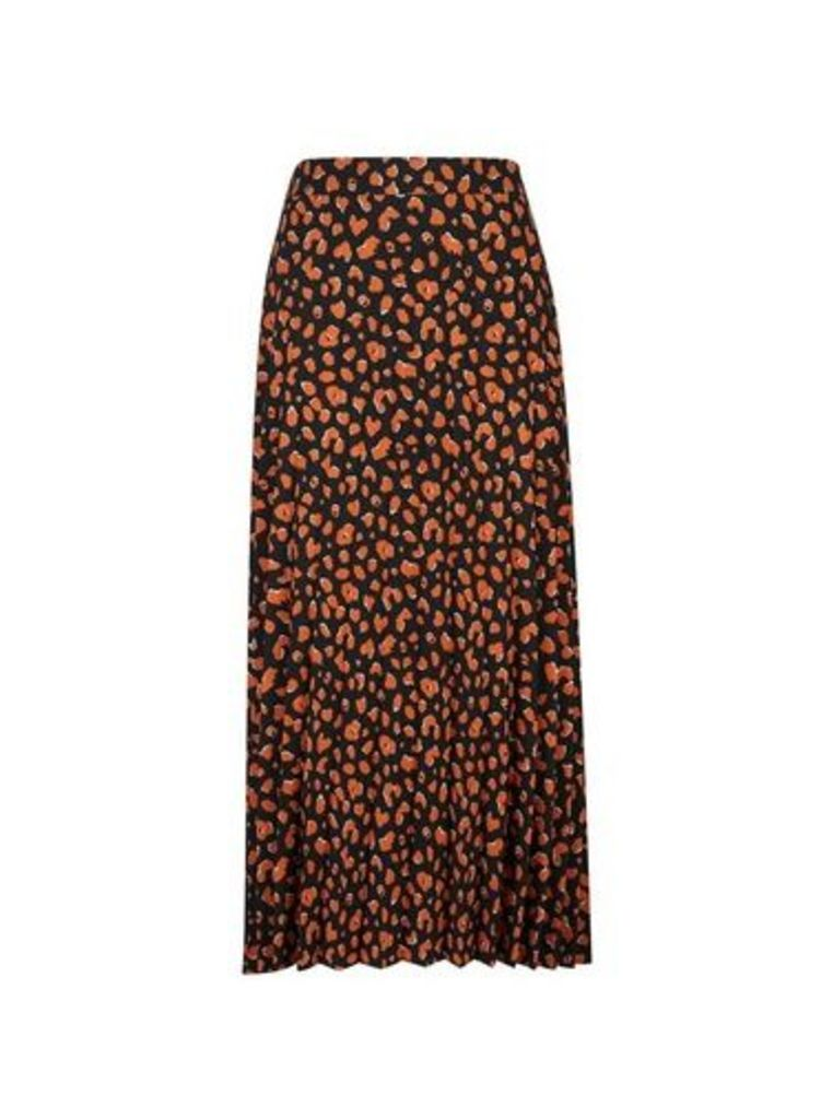 Womens **Tall Black Cheetah Print Pleated Midi Skirt- Black, Black
