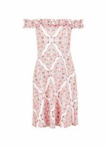 Womens Pink Ruffle Bardot Scarf Print Dress- Pink, Pink