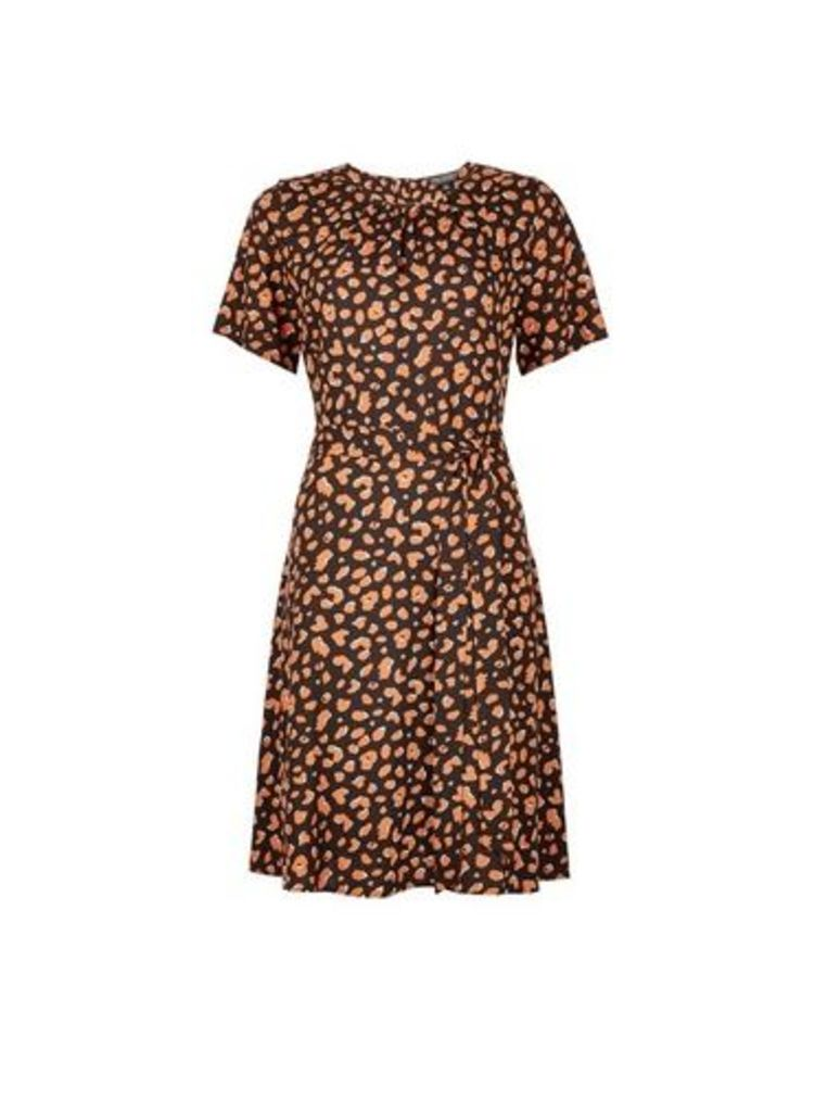 Womens Multi Colour Animal Print Short Sleeve Pleat Neck Fit And Flare Dress- Black, Black